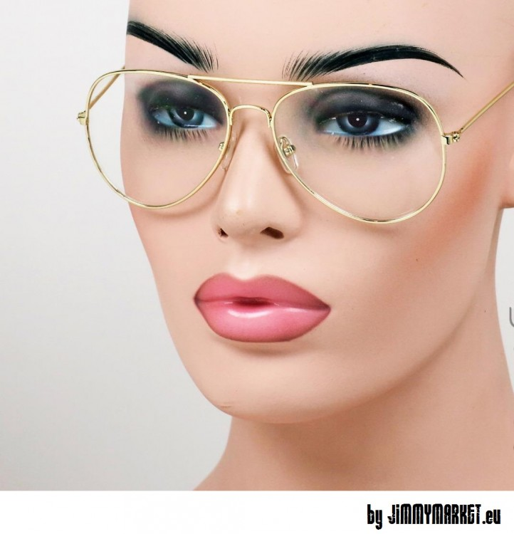9c12dd9d2 Hipster Okuliare Aviator Gold Clear